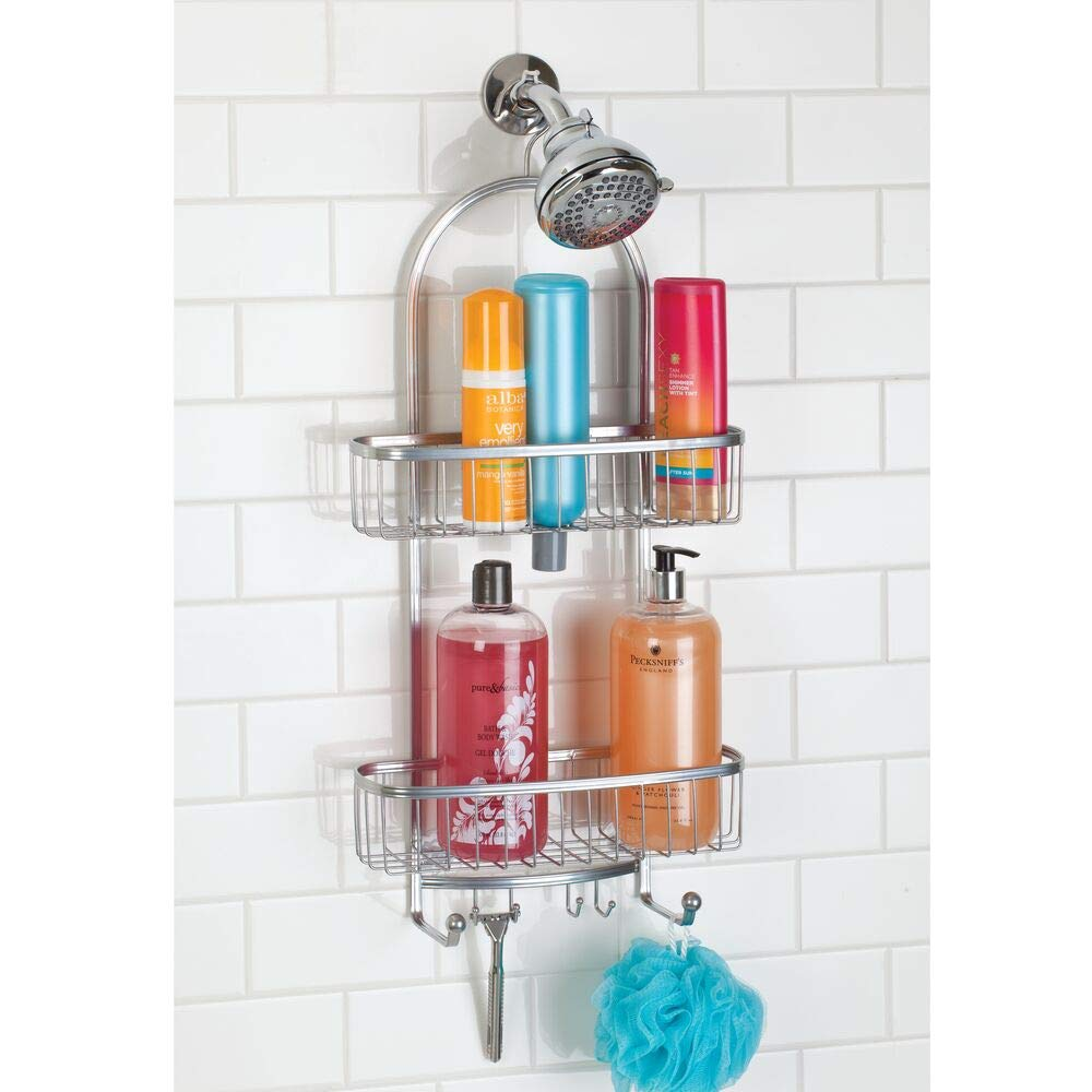 mDesign Large Metal Bathroom Tub & Shower Caddy, Hanging Storage Organizer Center with Built-in Hooks and Baskets on 2 Levels for Bathroom Showers, Stalls, Bathtubs - Silver