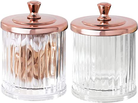 Amazon Com Mdesign Fluted Bathroom Vanity Storage Organizer Canister Apothecary Jar For Cotton Swabs Rounds Balls Makeup Sponges Bath Salts 2 Pack Clear Rose Gold Home Kitchen