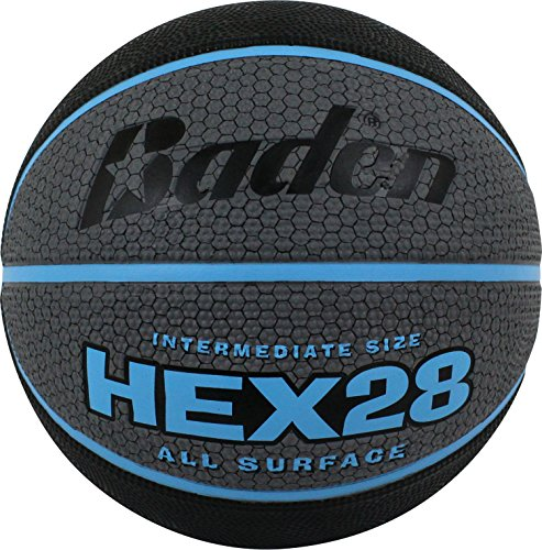 Baden Hex Deluxe Rubber Basketball, Black/Gray/Turquoise