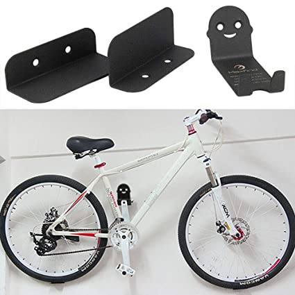 Black Bike Bicycle Cycling Pedal Tire Wall Mount Storage Hanger Stand Rack