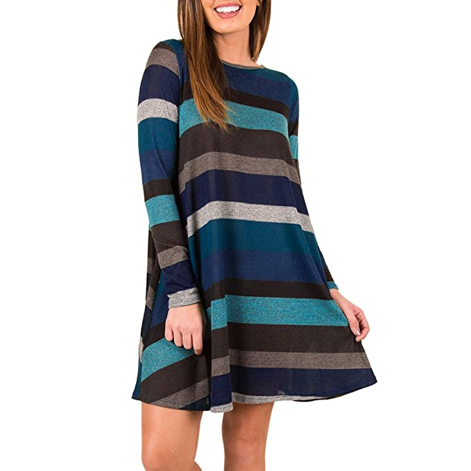 Vestito a Righe Donna Swing Abito in Maglia Manica Lunga Elegante Camicetta  T Shirt Scollo Rotondo 499cf59414d
