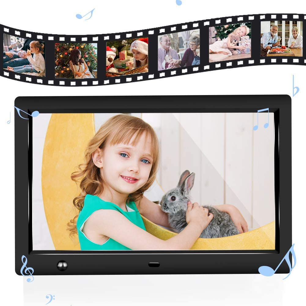 Calendar 10 inch IPS Screen Digital Photo Frame Background Music Support 1080P HD Video Player Digital Picture Frame with Motion Sensor Jimwey SD Card USB Drive MP3 Timing Power On//Off