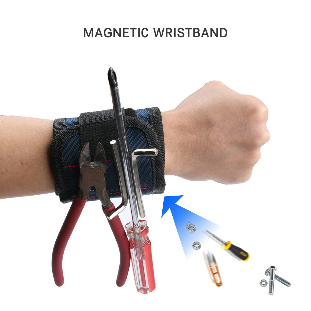 Zlimio Magnetic Wristband, 3 row Magnetic Tool Wristband with Strong Magnet for Holding Screw Nail Drill Bit Small Tools (Blue)