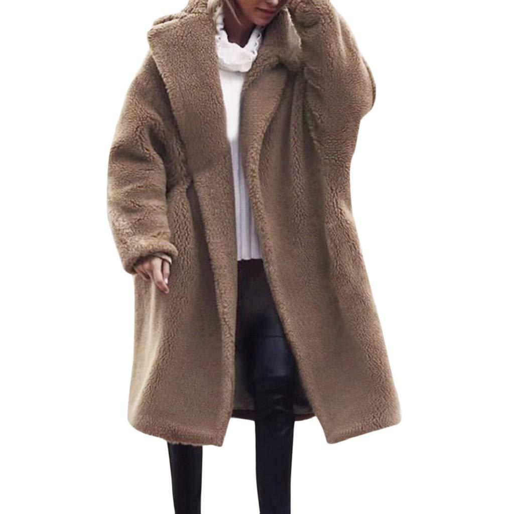 Women Plus Size Wool Overcoat Winter Solid Coat Outwear Jacket Fuzzy Faux Fur Cardigan Windbreaker Hoodie Trench Khaki by TianWlio