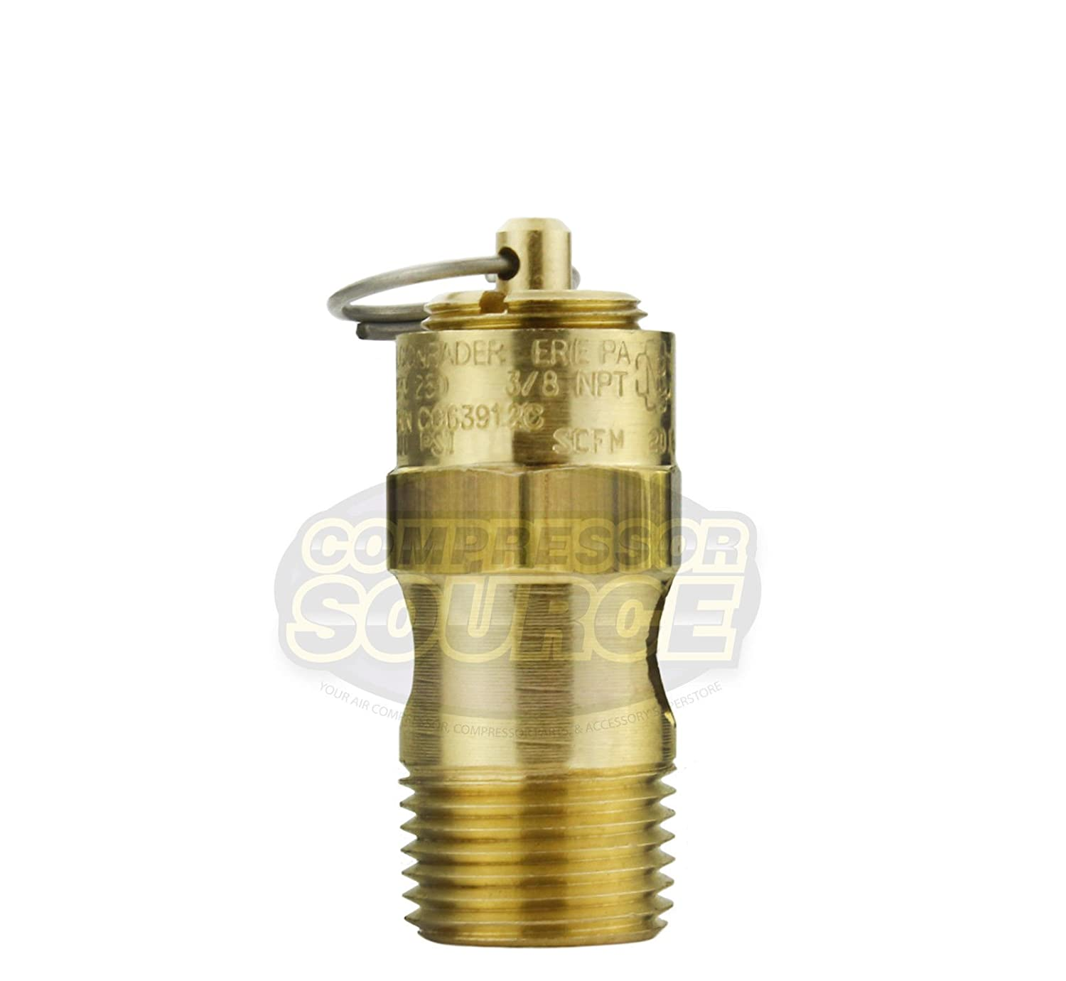125 PSI 3//8 Male NPT Air Compressor Safety Relief Pop Off Valve Solid Brass New
