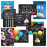 Bright Blackboard Birthday Greeting Card Value Pack - Set of 18 (9 Designs), Large 5 x 7 inches, Envelopes Included, by Current