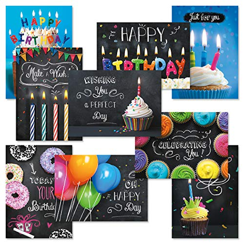 Bright Blackboard Birthday Greeting Card Value Pack - Set of 18 (9 Designs), Large 5 x 7 inches, Envelopes Included, by ()