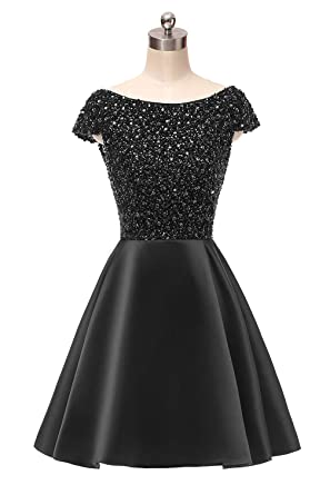 HEIMO Backless Sparkly Beaded Homecoming Dresses Cap Sleeves Sequined Prom Gowns Short H330 0 Black