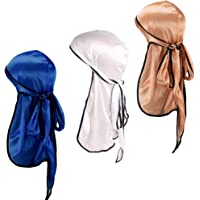 Home-Mart Satin Durag, 3-Pack Unisex Silk Satin Durag Long-Tail Head Wraps Silky Satin Pirate Cap Hair Loss Chemo Turban…