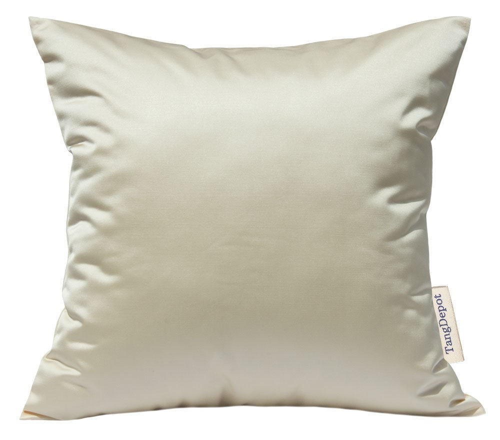 24x24, Cream Euro Shams TangDepot Solid Silky Throw Pillow Covers European Throw Pillow Covers Indoor//Outdoor - Shining and Luxury Cushion Covers
