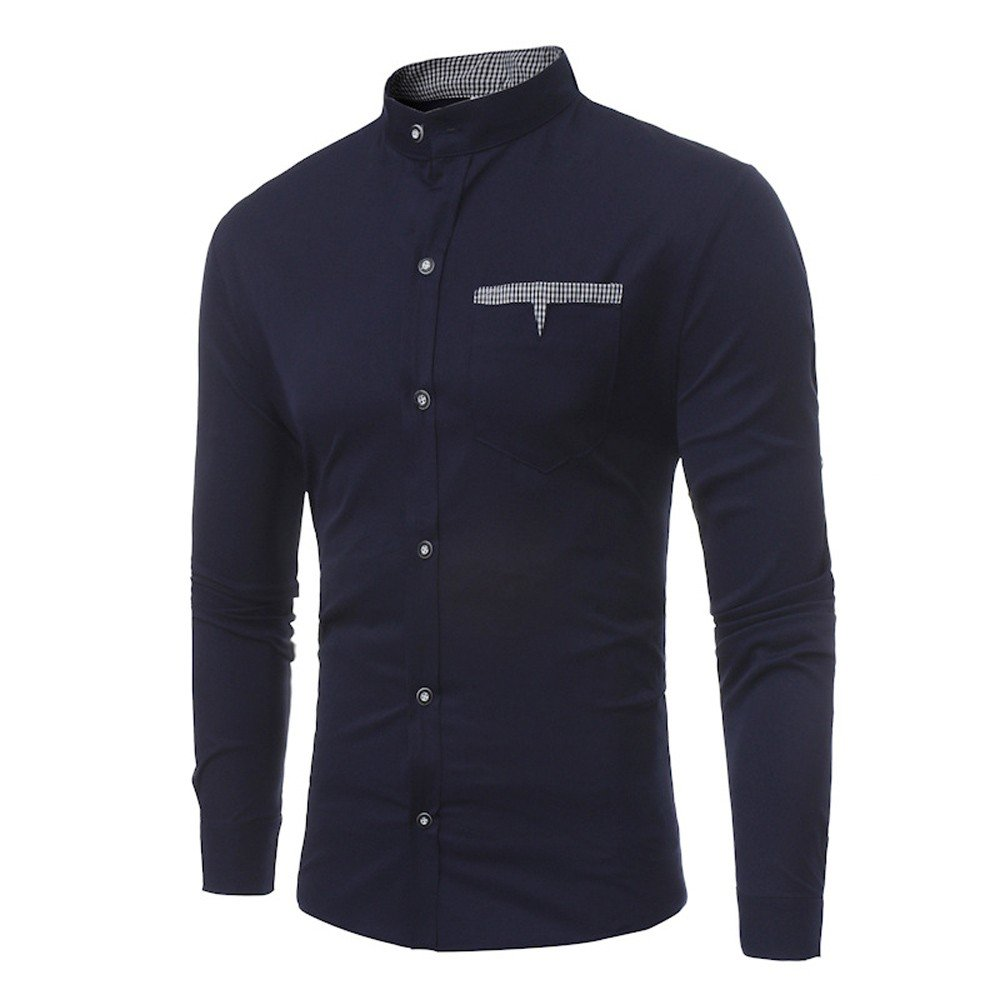 XZDCDJ Mens Shirts Slim Solid Color Summer Casual Long Sleeve T-Shirt Casual Blouse