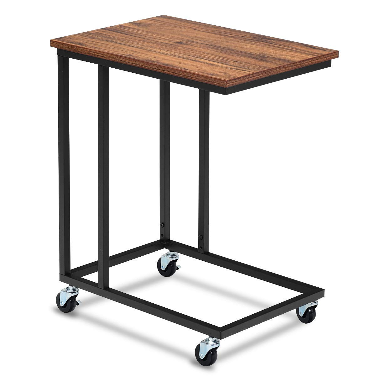 Tangkula Mobile Sofa Side Table, Movable Snack Table for Coffee Tablet, Rustic End Table with Metal Frame, Rolling Casters with Brakes, Portable Table for Couch Bed, Sofa, Living Room Bedroom Table