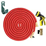 HELEN 25FT Expanding Heavy Duty Expandable Strongest Garden Water Hose Triple Latex Core with Shut Off Valve Solid Brass Connector and 9-Patter Spray Nozzle, 2016 Improved Version(Red)