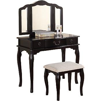 Amazon Com Poundex Bobkona Susana Tri Fold Mirror Vanity