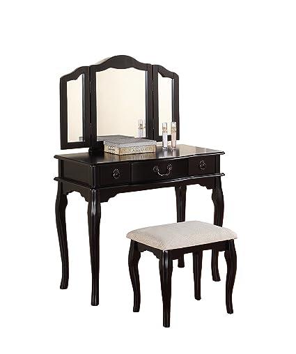 Poundex Bobkona Susana Tri Fold Mirror Vanity Table With Stool Set, Black