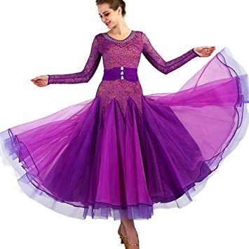 5703300ebcb8 Wanmei Ballroom Dance Competition Dresses For Women Lace/Tulle Backless Dance  Costumes Long Sleeve Modern