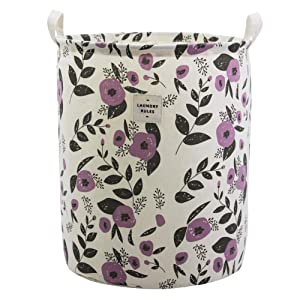 Large Fabric Storage Bins Toys Storage Basket for Baby Nursery, Kids Playroom, Home Organizer, Collapsible Laundry Basket Hamper with Floral Pattern (Purple Flowers)