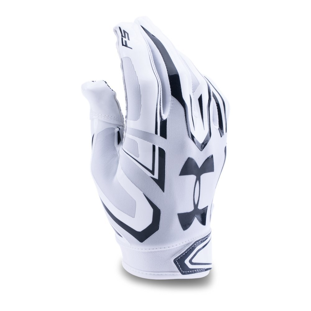 Under Armour Men's F5 Football Gloves, White/Midnight Navy, Small by Under Armour (Image #1)