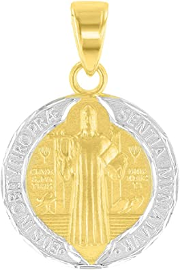 Solid 14K Yellow Gold Polished St Benedict Medal Charm Saint Pendant Necklace