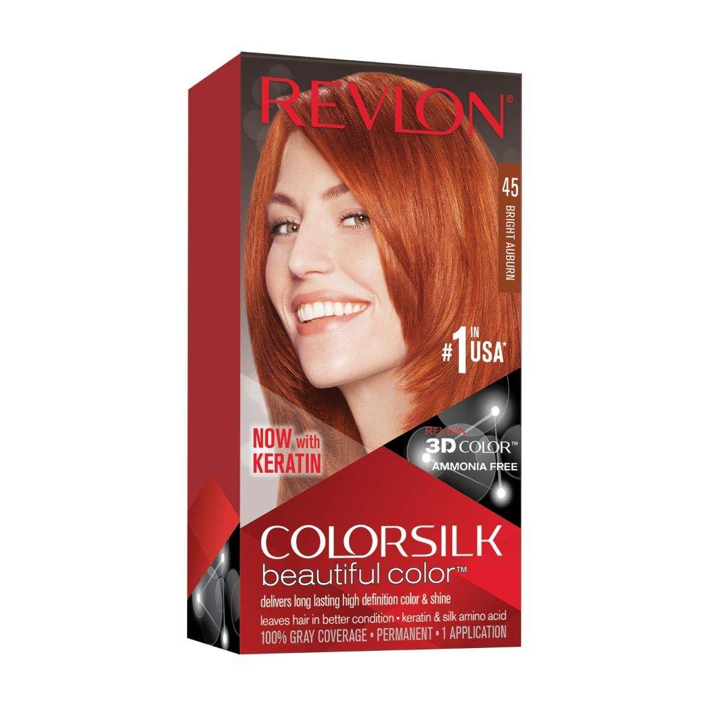Revlon Colorsilk Beautiful Color, Permanent Hair Dye with Keratin, 100% Gray Coverage, Ammonia Free, 45 Bright Auburn