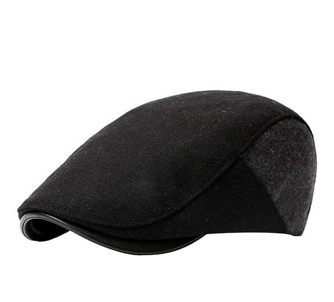 f0717ea580c ACVIP Men s Wool Newsboy Herringbone Flat Lvy Classic Golf Driving Hat ( Black)