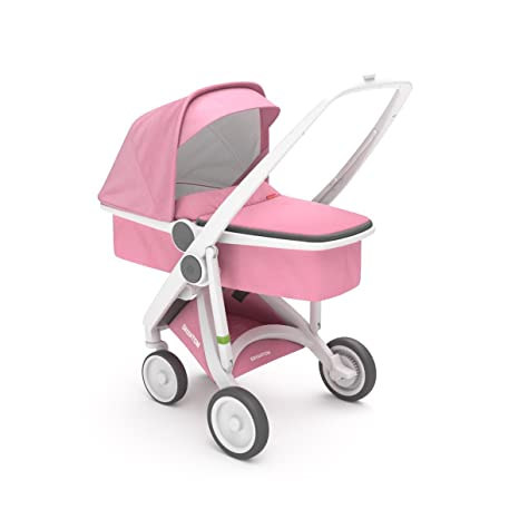 Cochecito UPP Carrycot Chassis blanco + Kit portabebés rosa greentom