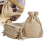 PH PandaHall 100pcs Burlap Drawstring Bags