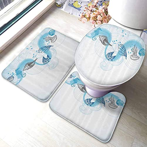 Bathroom Rugs Mats Set 3 Pieces Nautical,Marine Theme Seashells Ocean Waves Fishes Seahorse Swirls Curves and Bubbles,Light Blue Grey,Soft Area Rug