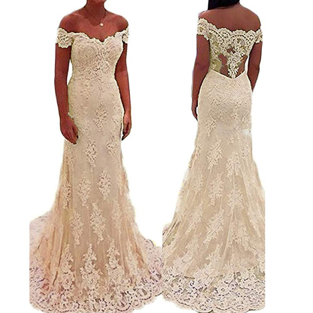 Champagne YNQNFS Women's lace Appliques Homecoming Prom Long Dresses Mermaid Bridesmaids Gowns