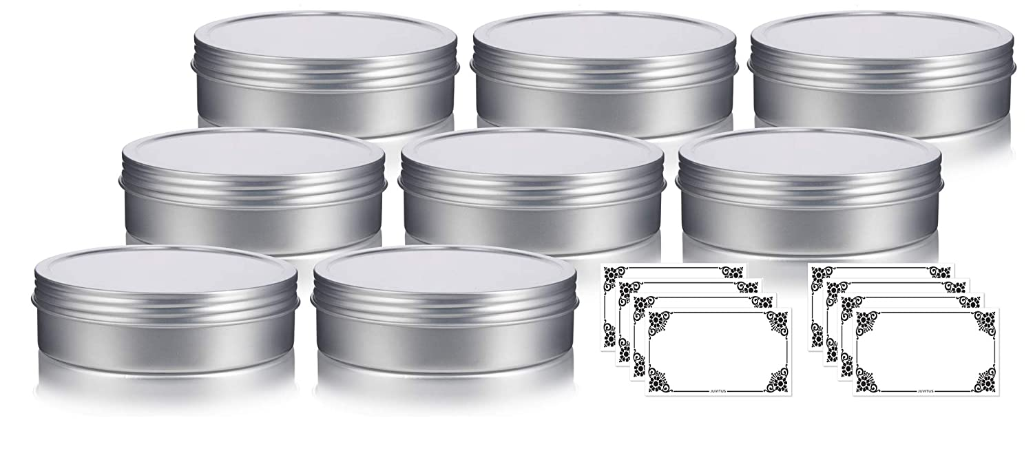 8 oz Metal Steel Tin Flat Container with Tight Sealed Twist Screwtop Cover 8 Pack Labels