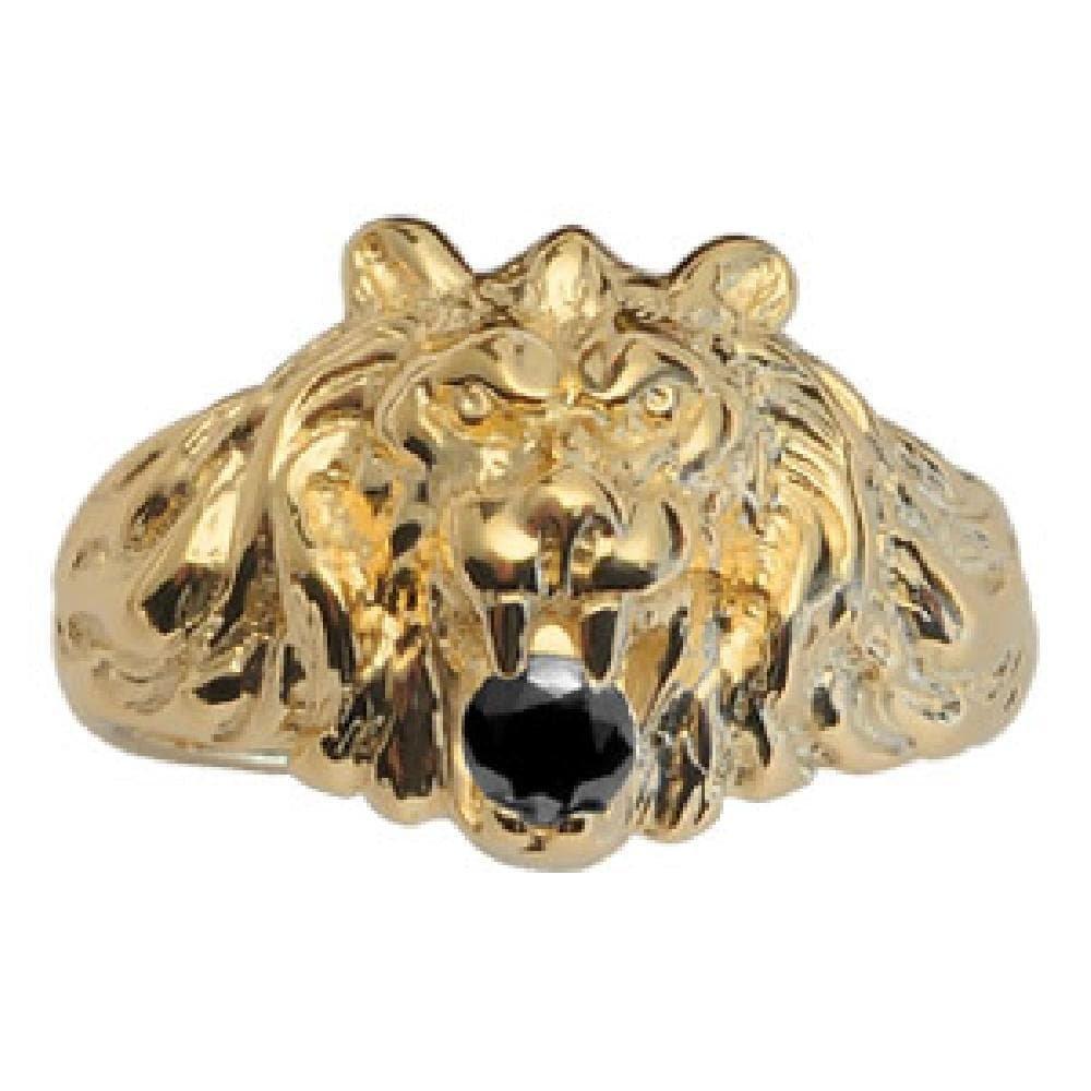 So Chic Jewels - Vermeil - Silver Gilt (18k Gold over 925 Sterling Silver) Mens Big Size Lion Design Black Cubic Zirconia Signet Ring - Size 11.5