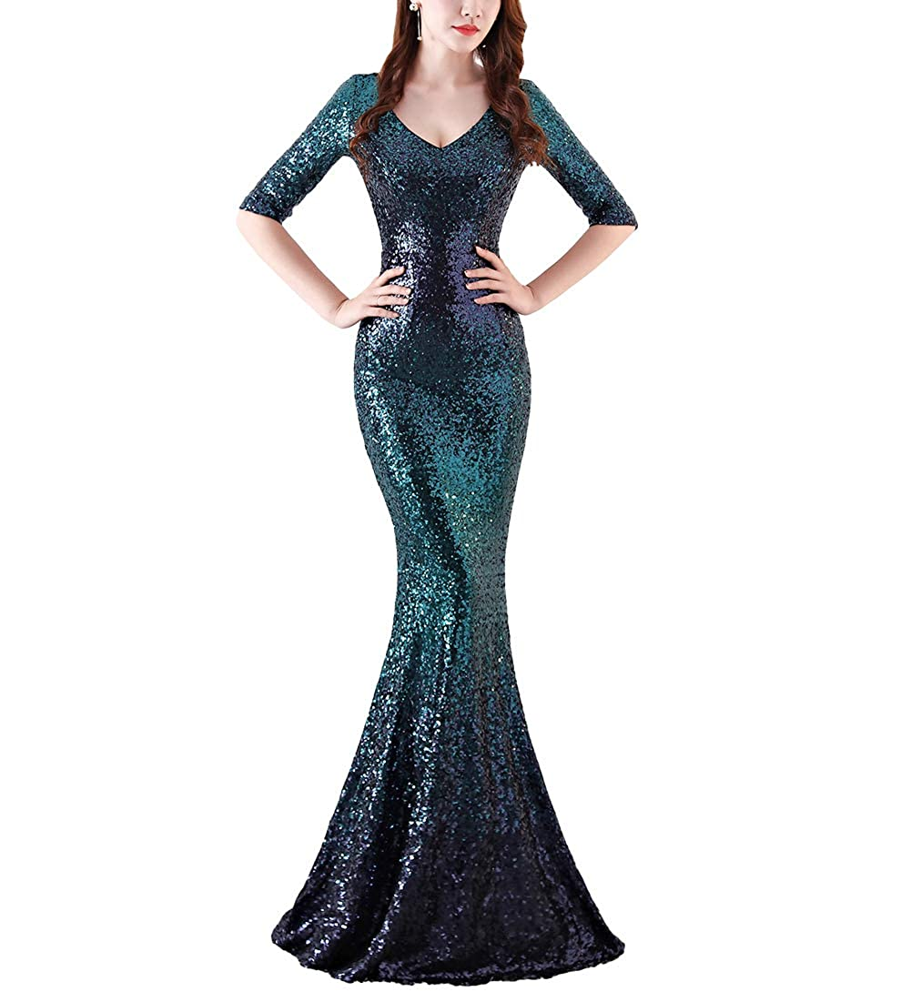 1118green Chowsir Women Sexy Elegant Slim Sequin Long Cocktail Party Evening Dress