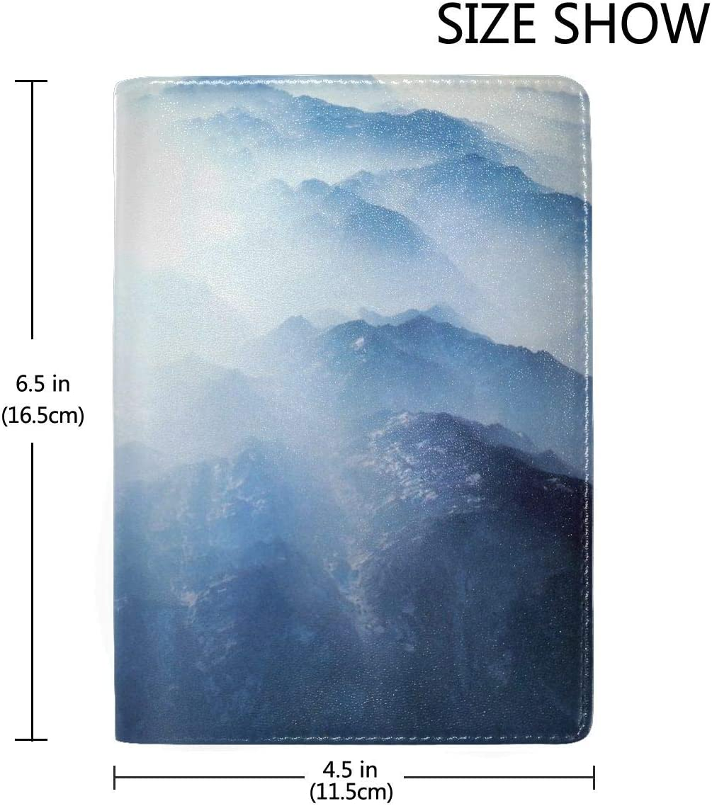 Mountain Cloud Fashion Leather Passport Holder Cover Case Travel Wallet 6.5 In