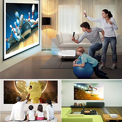 Ogima BL20 Video Projector,2600 Lumens Home Cinema Theater 5.0 Inch LCD TFT Display Support 1080P HD 3D with 1-year warranty Top Price