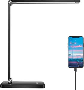 JEWPARK LED Desk lamp with USB Charging Port,Touch-Sensitive Control,Dimmable Eye-Caring Office Lamp,3 Lighting Modes & 5 Brightness Levels,Table Light for Home Office,College Dorm Room(Black)