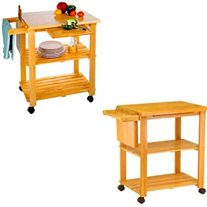 Modern Kitchen Island Cart with Tabletop Storage Utility and Grocery Cart on Wheels Rolling Contemporary Wooden  sc 1 st  Amazon.com & Amazon.com - Modern Kitchen Island Cart with Tabletop Storage ...