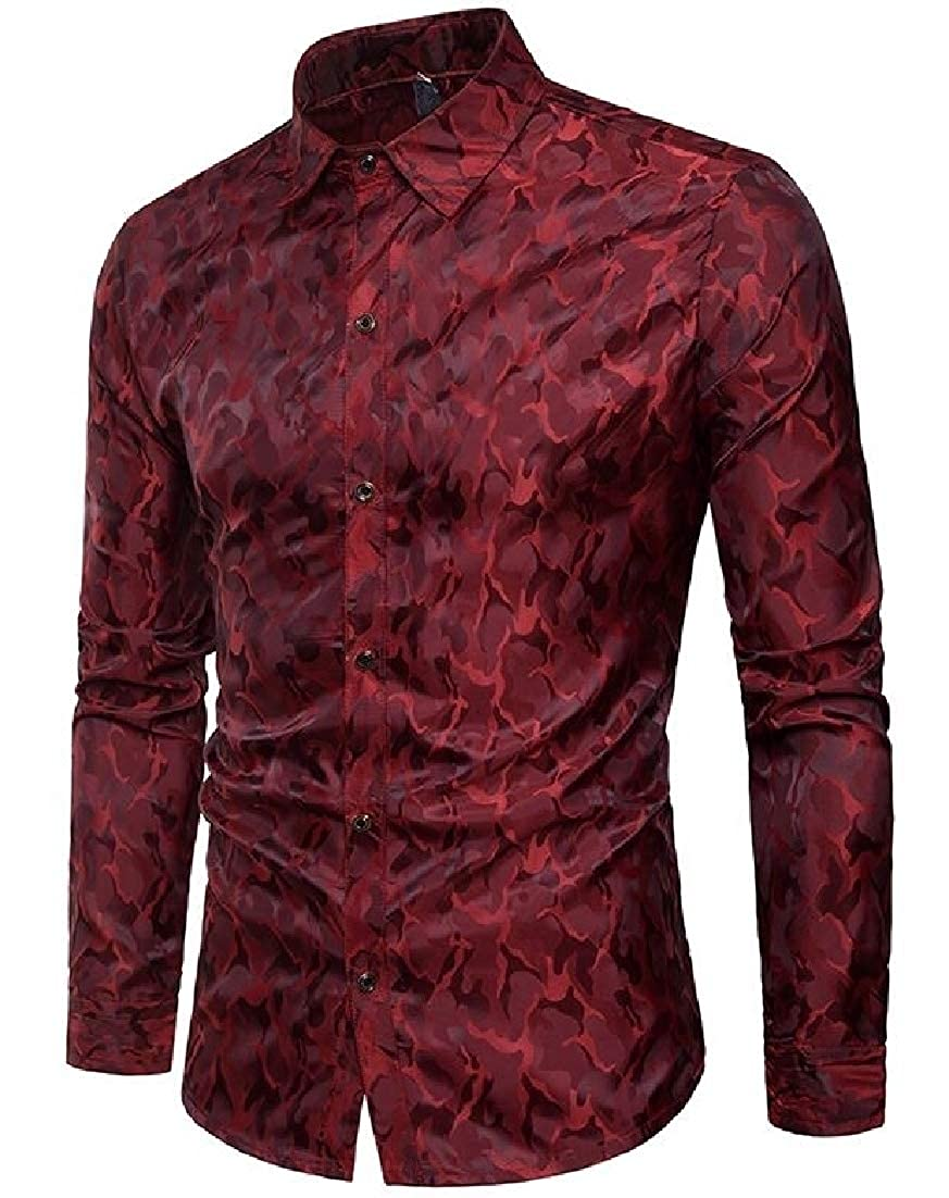 Wilngo Mens Slim Fit Long Sleeve Lapel Stylish Buttons Nightclub Camouflage Print Casual Shirt