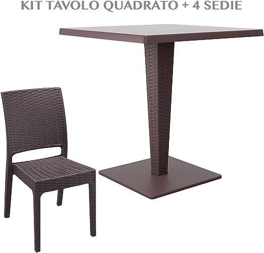 Mesa Cuadrada con 4 sillas de jardín Efecto Rattan de plástico ...