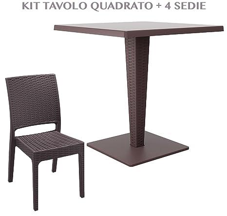 Tavolo Quadrato Con 4 Sedie.Tavolo Quadrato Con 4 Sedie Da Giardino Effetto Rattan In Plastica