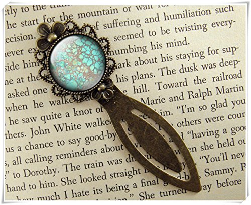 One Life ,one jewerly Faux Turquoise Bookmark,Book Accessories, Dome glass jewelry, pure ()