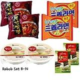 Rabob Set B-34(Bookyung Champong x2, Sam Yang Ramen Spicy x2, Cooked White Rice x2, Crispy Toasted Seaweed x2) 라밥 세트 B-34 (북경 짬뽕 x2,삼양라면 매운맛x2, 햇반 x2,백설 도시락 김 x2)