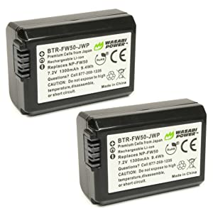 BATERÍA WASABI POWER (PAQUETE DE 2) Y CARGADOR DUAL PARA SONY NP-FW50 (compatible con Alpha a7, a7 II, a7R, a7R II, a7S, a7S II, a5000, a5100, a6000, a6300, a6500, NEX-5T, Cyber -hot DSC-RX10 III y más)