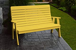 product image for Outdoor Winston Garden Bench - 4 Feet - Lemon Yellow Poly Lumber