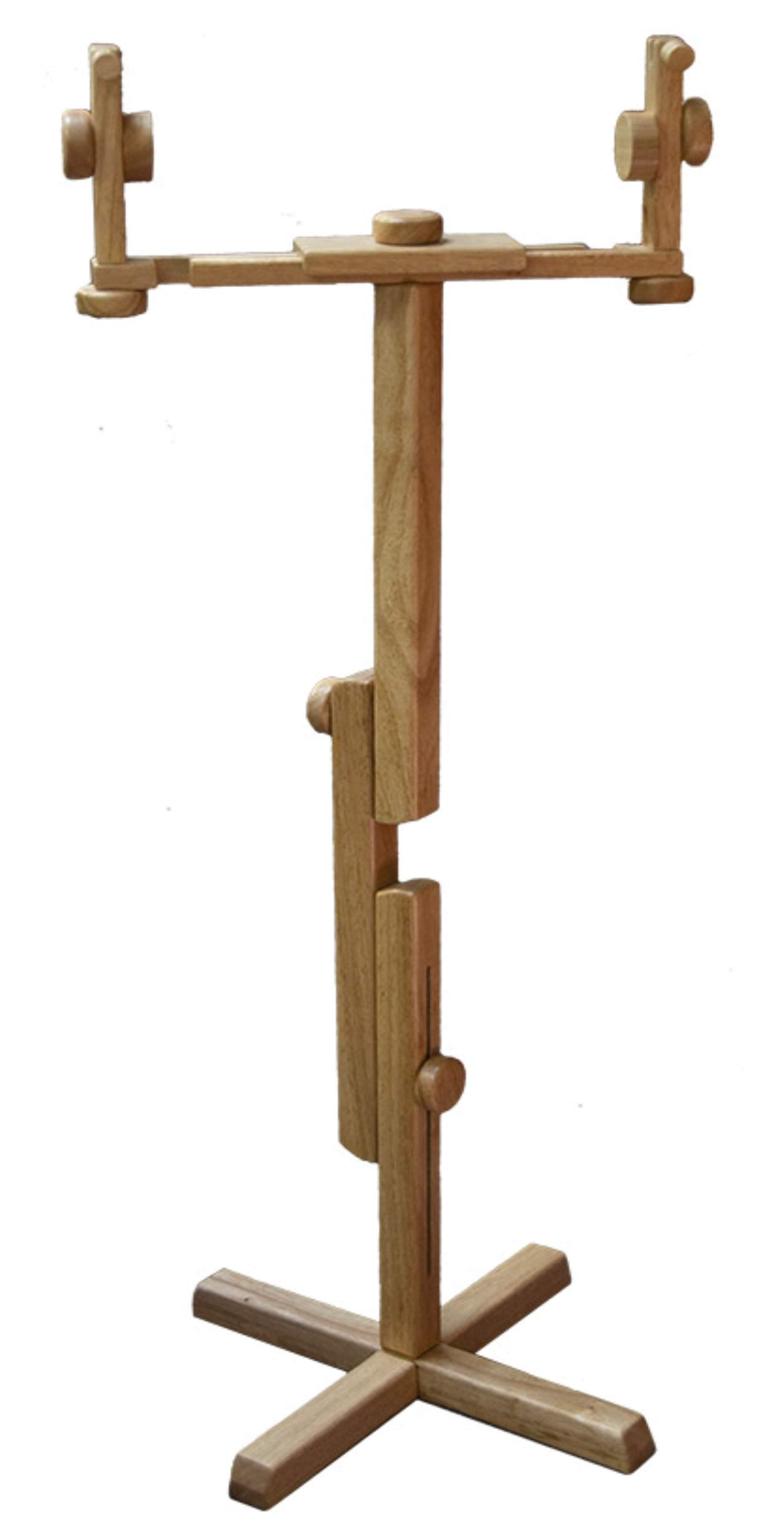 """Needlepoint Floor Stand - Solid Oak""""Sit or"""