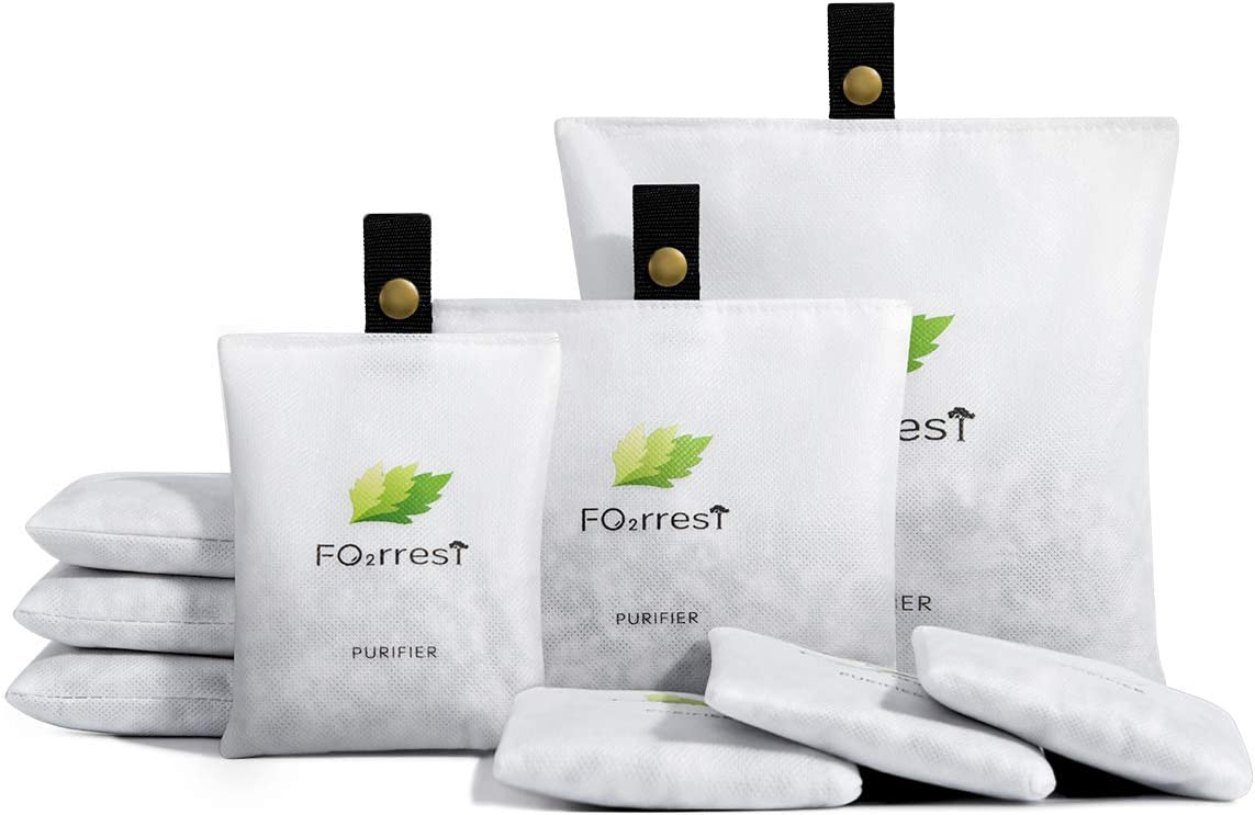 FO2RREST Fresh Air Purifying Bag, Natural Odor Eliminator and Unscented Deodorizer for Car and House(4x50g,4x150g,1x400g)