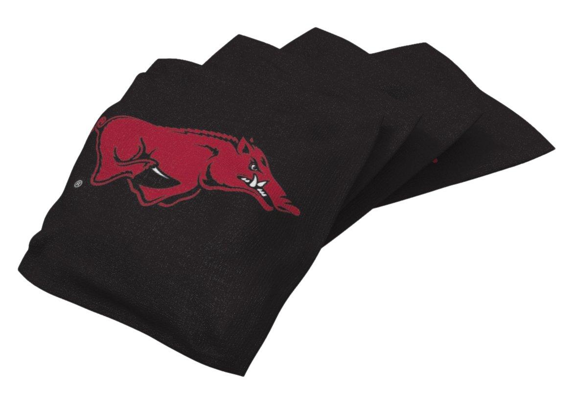 Wild Sports NCAA College Arkansas Razorbacks Black Authentic Cornhole Bean Bag Set (4 Pack)