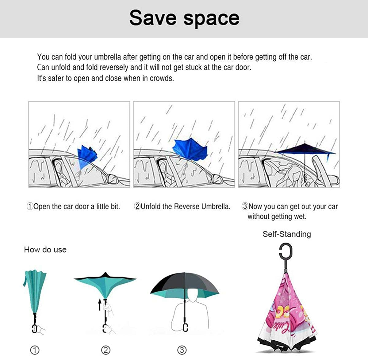 Cute Colorful Unicorn Playing Cartoon Reverse Umbrella Double Layer Inverted Umbrellas For Car Rain Outdoor With C-Shaped Handle Customized