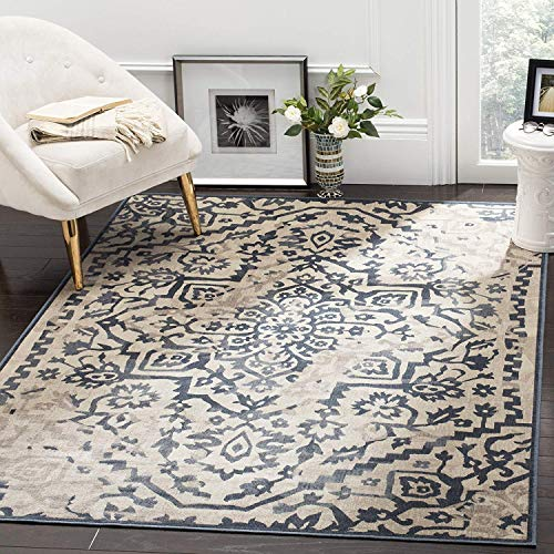 Vintage Premium Collection VTG135-7340 Transitional Oriental Medallion Cream and Blue Distressed Silky Viscose Area Rug (8' x 11'2