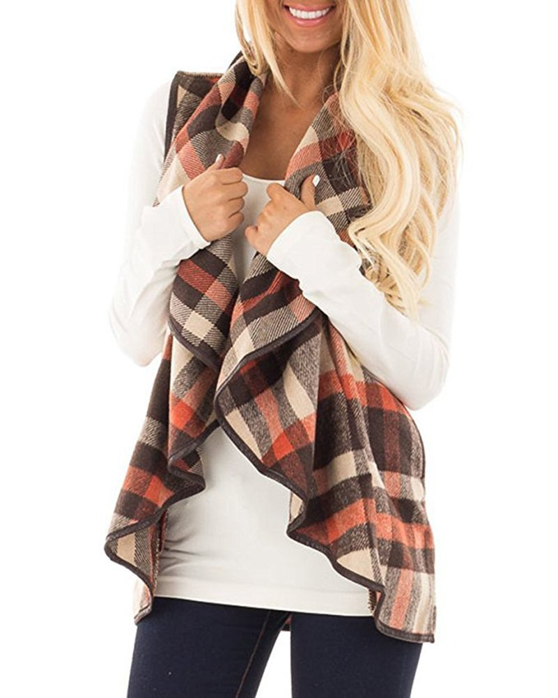 Annystore Women Plaid Vest Lapel Lightweight Sleeveless Vest Cardigan Outerwear with Pockets Brown and Orange L