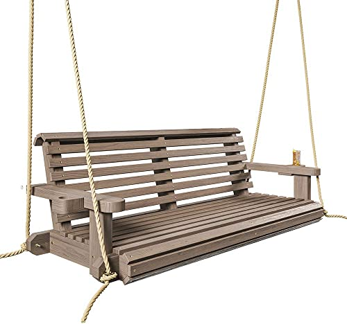 Porchgate Amish Heavy Duty 800 Lb Roll Comfort Treated Porch Swing W Ropes 5 Foot, Warm Walnut Stain